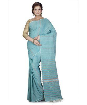 Blue Shantiniketani pure cotton khesh Cotton Saree  With Blouse Piece