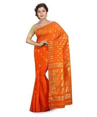 Orange Women's Embroidered Jamdani Handloom Silk Cotton Blend Saree  without Blouse Piece