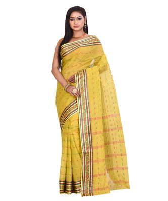 Yellow Women's Woven Tant Cotton Saree  without Blouse Piece