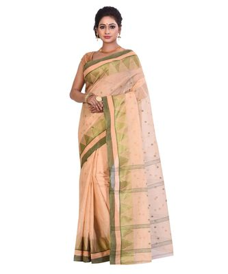 Beige Women's Woven Tant Cotton Saree  without Blouse Piece