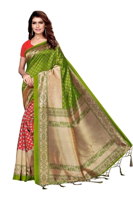 Mehendi printed art silk saree with blouse