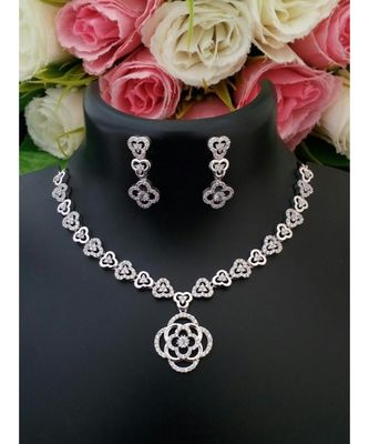 Beautiful Platinum Designer American Diamond Necklace With A Pair Of Cute Ear Rings