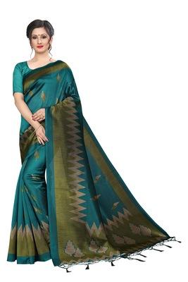 Dark sky blue printed art silk saree with blouse