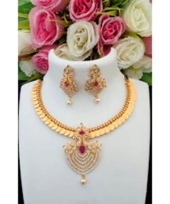 Traditional Lakshmi Coin Necklace With American Diamond Removable Pendant & Matching Ear Rings