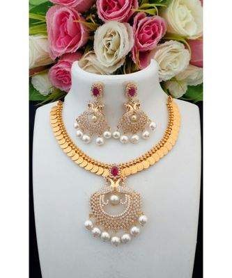 Traditional Lakshmi Coin Necklace with Removable American Diamond Peacock Pendant & Matching Ear Rings