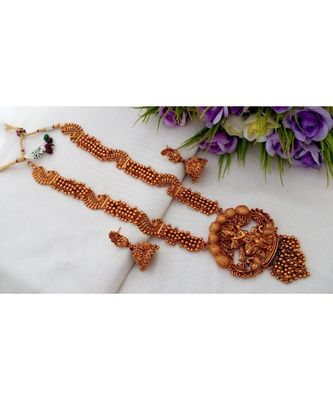 Gorgeous Beads Cluster Long Necklace With Krishna Pendant & Matching Ear Rings