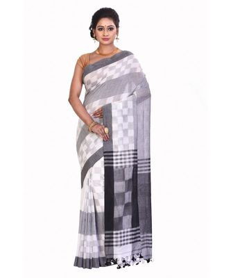 Black Women's Woven Tant Cotton Saree  without Blouse Piece