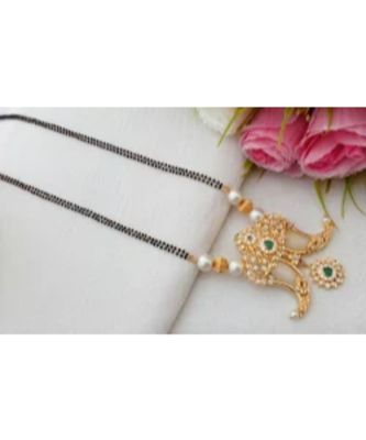 Cute Gold Tone Designer Mangal Sutra with Nail Pendant