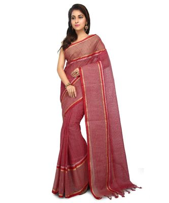 Brown Women's Woven Tant Cotton Saree  without Blouse Piece