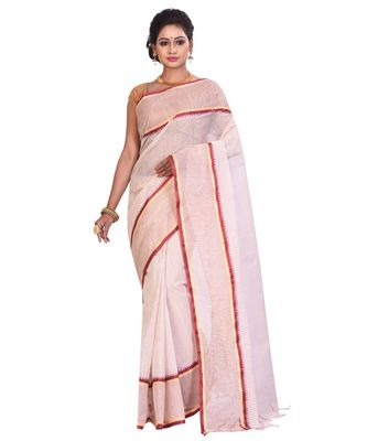 White Women's Woven Tant Cotton Saree  without Blouse Piece