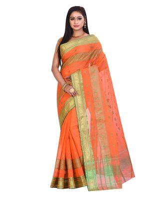 Orange Women's Woven Tant Cotton Saree  without Blouse Piece