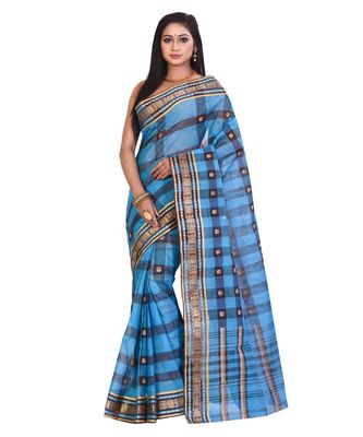 Blue Women's Woven Tant Cotton Saree  without Blouse Piece