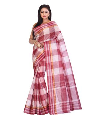 Maroon Women's Woven Tant Cotton Saree  without Blouse Piece
