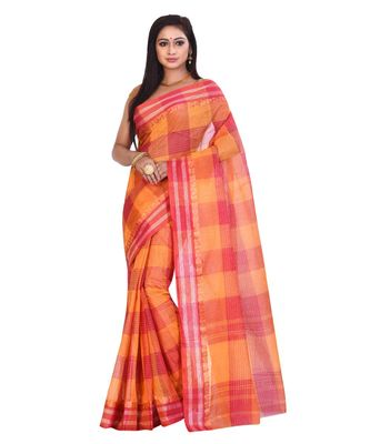 Multicolor Women's Woven Tant Cotton Saree  without Blouse Piece