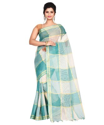 Green Women's Woven Tant Cotton Saree  without Blouse Piece