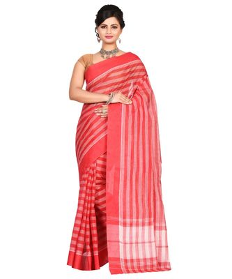 Red Women's Woven Tant Cotton Saree  without Blouse Piece