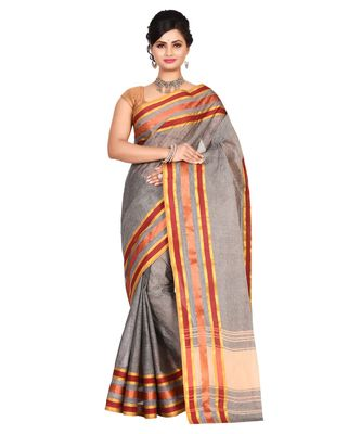 Grey Women's Woven Tant Cotton Saree  without Blouse Piece