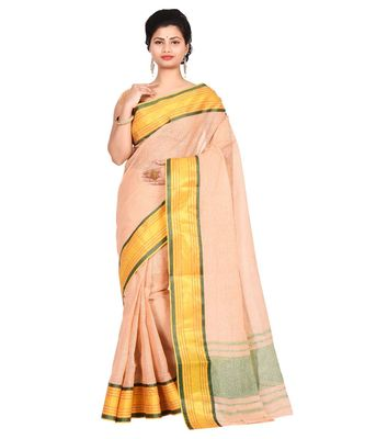 Beige Women's Woven Tant Cotton Saree  without Blouse Piece