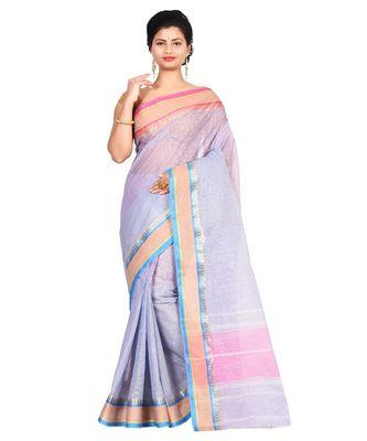 Multicolor Women's Woven Tant Cotton Saree  without Blouse Piece