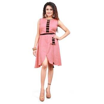 Pink Cotton Slub Knee-Long Dress for Women