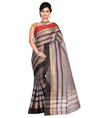 Black Women's Woven Tant Cotton Saree  without Blouse Piece