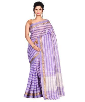 Sky Blue Women's Woven Tant Cotton Saree  without Blouse Piece