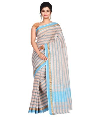 Off-white Women's Woven Tant Cotton Saree  without Blouse Piece