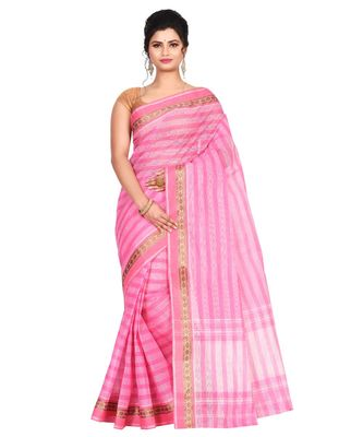 Pink Women's Woven Tant Cotton Saree  without Blouse Piece