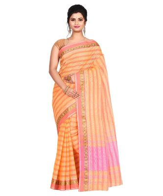 Orange Women's Woven Tant Cotton Saree  without Blouse Piece