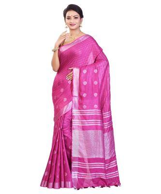 Purple Women's Bhagalpuri Silk Saree With Blouse Piece