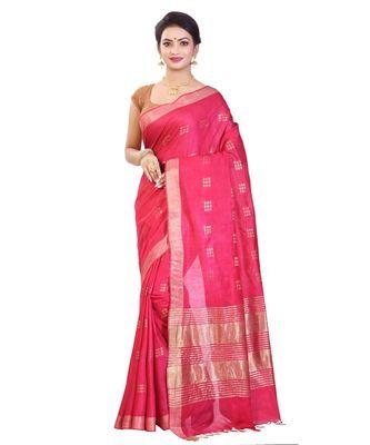 Pink Women's Bhagalpuri Silk Saree With Blouse Piece