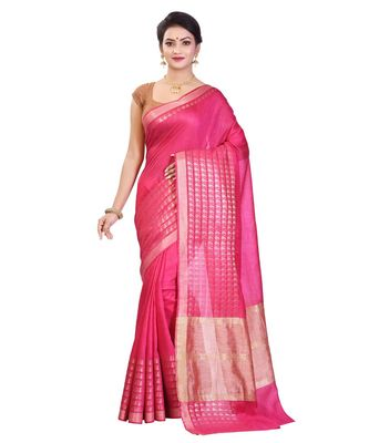Pink Women's Bhagalpuri Silk Saree With Blouse Piece