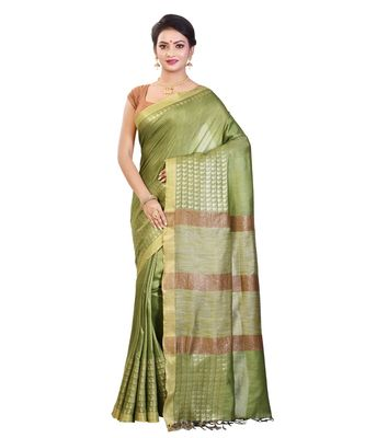 Green Women's Bhagalpuri Silk Saree With Blouse Piece