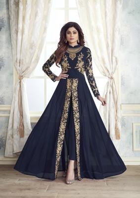 Women's Navy Blue Georgette Classy Designer Suit