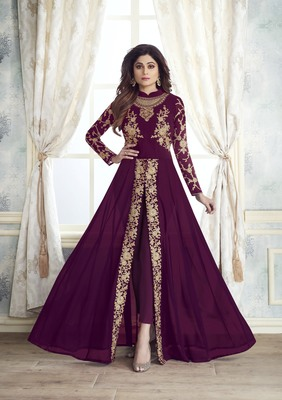 Women's Wine Georgette Amzing Designer Suit