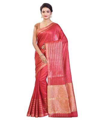 Red Women's Bhagalpuri Silk Saree With Blouse Piece