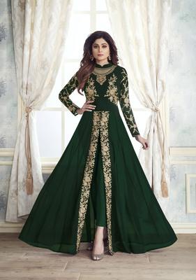 Women's Dark Green Georgette Preety Designer Suit