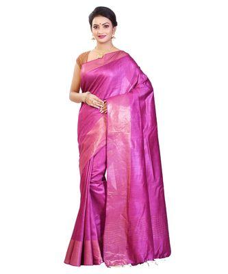 Magenta Women's Bhagalpuri Silk Saree With Blouse Piece