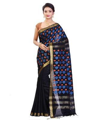Black Women's Bhagalpuri Silk Saree With Blouse Piece
