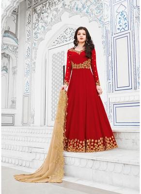 Women's Red Georgette Graceful Designer Suit