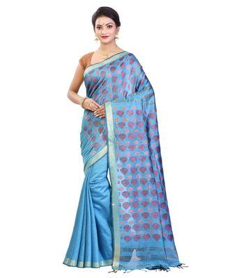 Sky Blue Women's Bhagalpuri Silk Saree With Blouse Piece