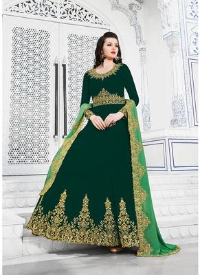 Women's Dark Green Georgette Dazzling Designer Suit