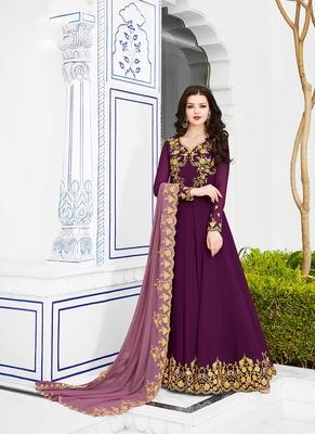 Women's Purple Georgette Classy Designer Suit