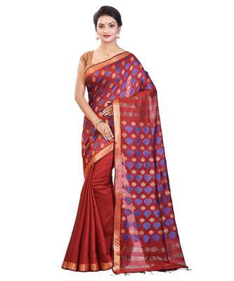 Brown Women's Bhagalpuri Silk Saree With Blouse Piece