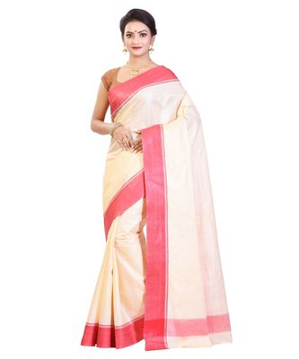 White Women's Bhagalpuri Silk Saree With Blouse Piece