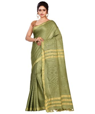 Green Women's Bhagalpuri Silk Saree With Blouse Piece