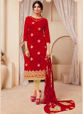 Women's Red Modal Silk Fancy Designer Suit