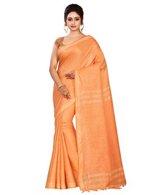 Orange Women's Bhagalpuri Silk Saree With Blouse Piece