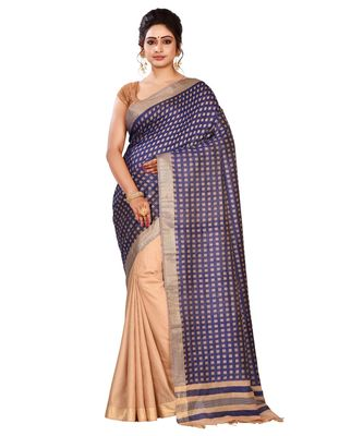 Blue Women's Bhagalpuri Silk Saree With Blouse Piece