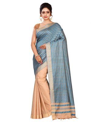 Blue Women's Bhagalpuri Silk Saree With Blouse Piece